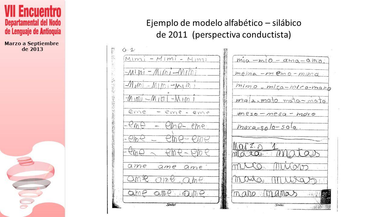 Marzo a Septiembre de 2013 Ejemplo de modelo alfabético – silábico de 2011 (perspectiva conductista)