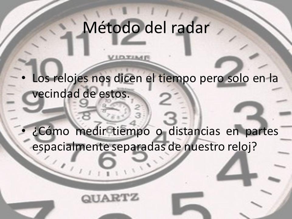 Los relojes nos dicen el tiempo pero solo en la vecindad de estos. ¿Cómo medir tiempo o distancias en partes espacialmente separadas de nuestro reloj?