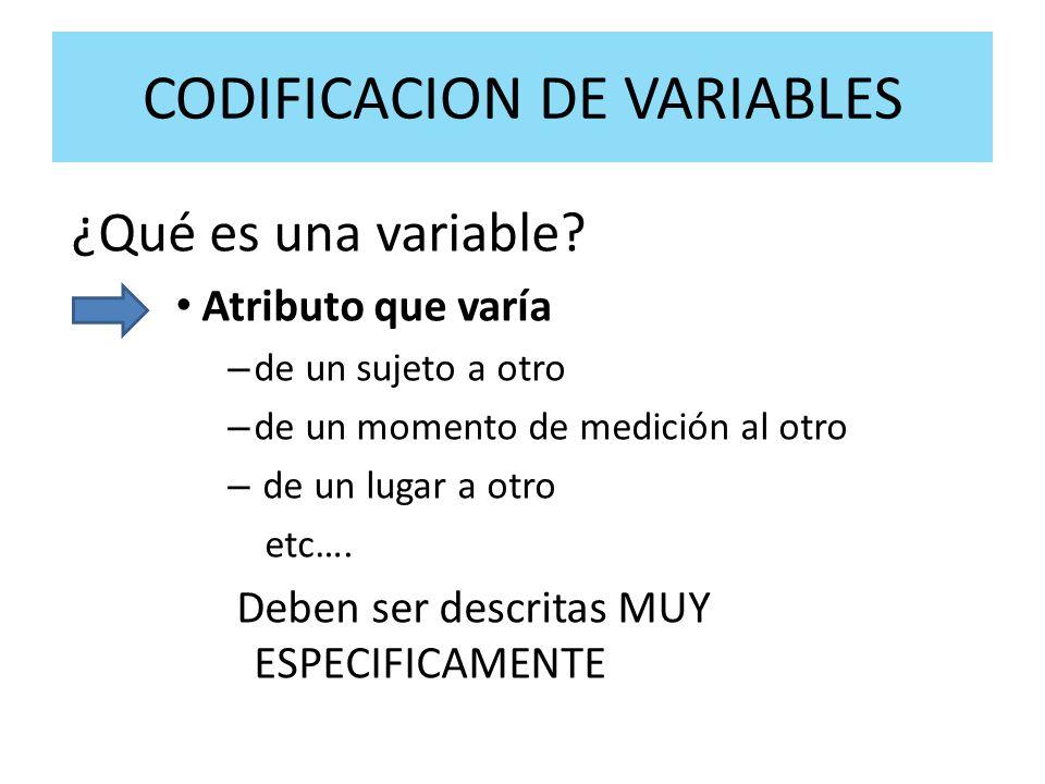 CODIFICACION DE VARIABLES ¿Qué es una variable? Atributo que varía – de un sujeto a otro – de un momento de medición al otro – de un lugar a otro etc…