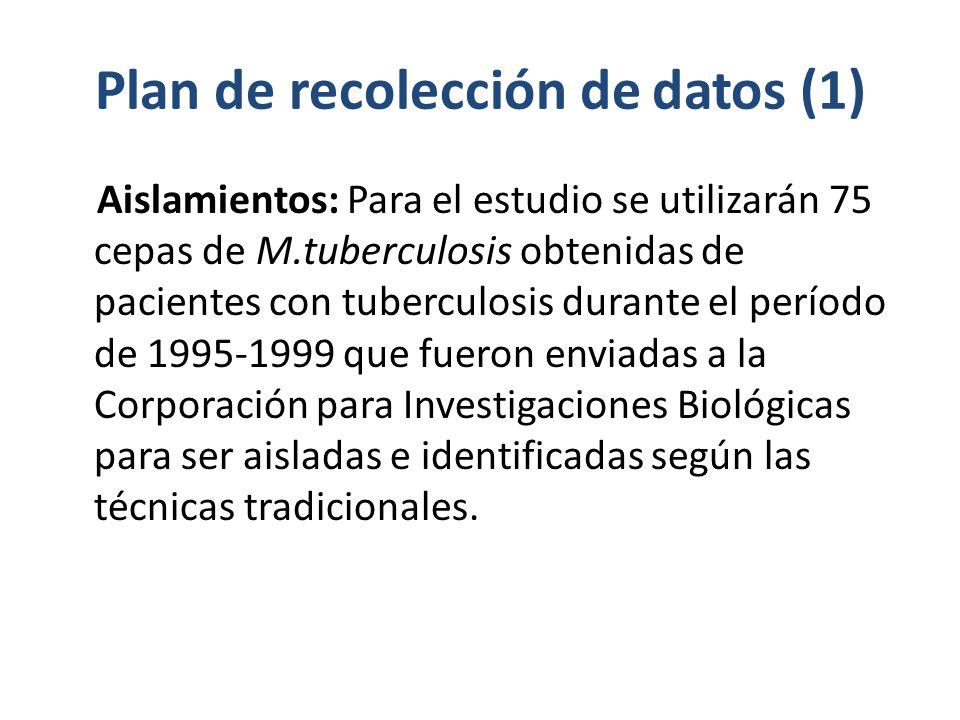 Plan de recolección de datos (1) Aislamientos: Para el estudio se utilizarán 75 cepas de M.tuberculosis obtenidas de pacientes con tuberculosis durante el período de 1995-1999 que fueron enviadas a la Corporación para Investigaciones Biológicas para ser aisladas e identificadas según las técnicas tradicionales.