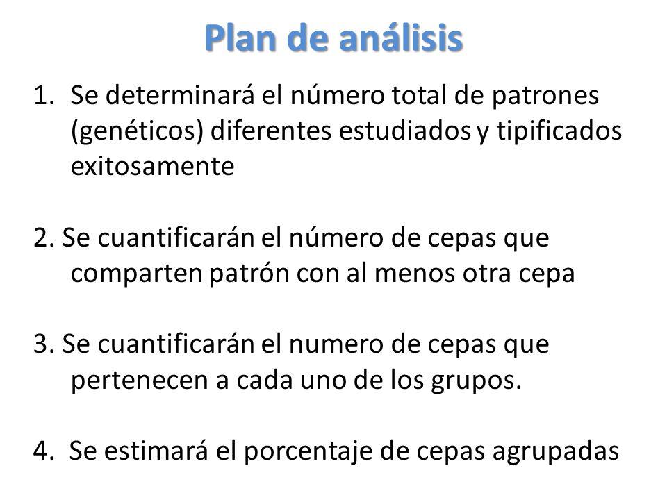 Plan de análisis 1.Se determinará el número total de patrones (genéticos) diferentes estudiados y tipificados exitosamente 2.