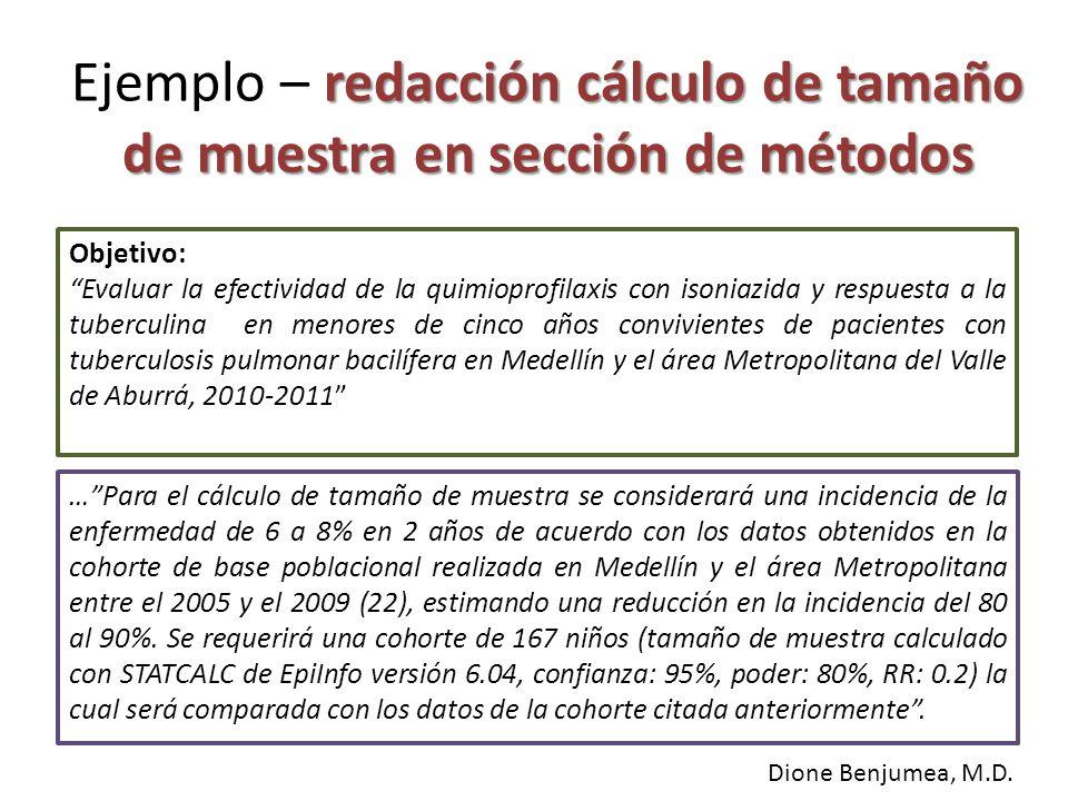 redacción cálculo de tamaño de muestra en sección de métodos Ejemplo – redacción cálculo de tamaño de muestra en sección de métodos …Para el cálculo d