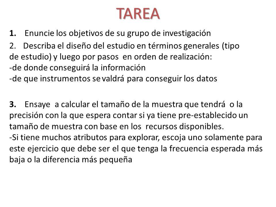 TAREA 1. Enuncie los objetivos de su grupo de investigación 2.Describa el diseño del estudio en términos generales (tipo de estudio) y luego por pasos