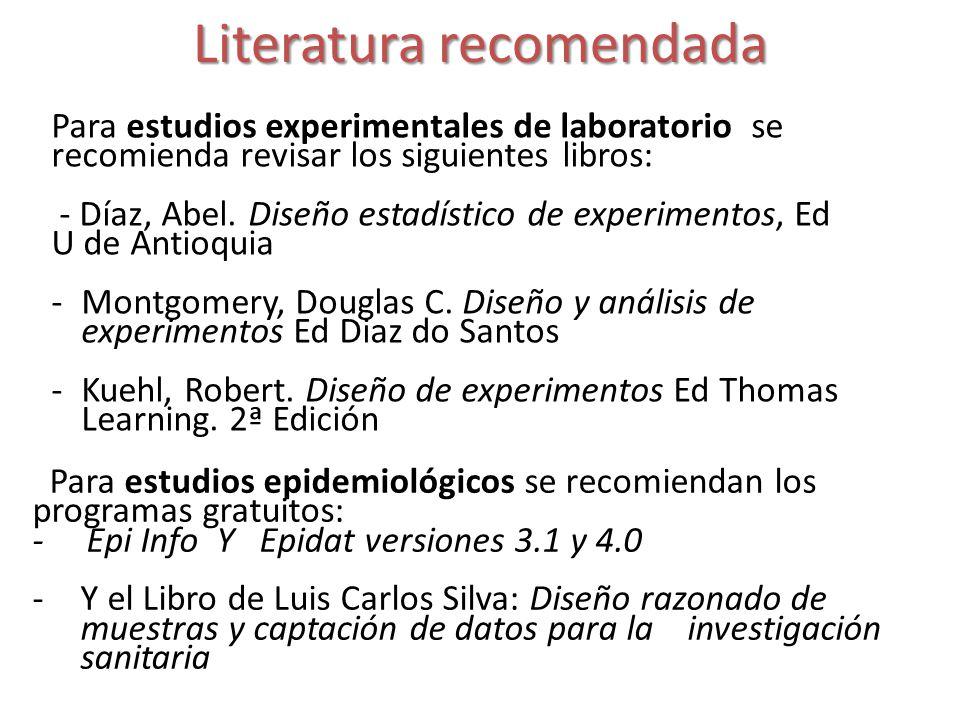 Literatura recomendada Para estudios experimentales de laboratorio se recomienda revisar los siguientes libros: - Díaz, Abel. Diseño estadístico de ex