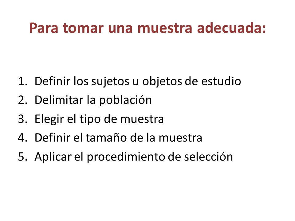 Para tomar una muestra adecuada: 1.Definir los sujetos u objetos de estudio 2.Delimitar la población 3.Elegir el tipo de muestra 4.Definir el tamaño d