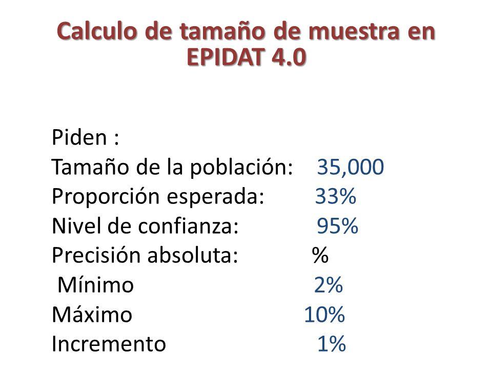 Calculo de tamaño de muestra en EPIDAT 4.0 Piden : Tamaño de la población: 35,000 Proporción esperada: 33% Nivel de confianza: 95% Precisión absoluta: