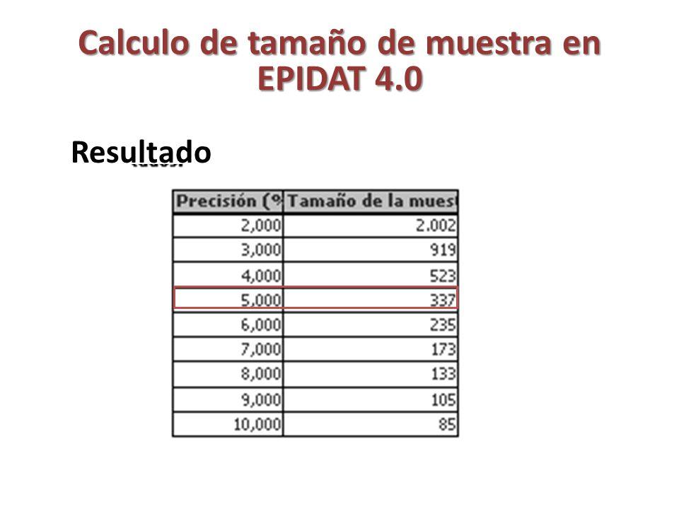 Calculo de tamaño de muestra en EPIDAT 4.0 Variando el nivel de confianza: Tamaño de la población: 35,000 Proporción esperada: 33% Nivel de confianza: 90, 91, 92, 93, 94, 95 y 96 Precisión absoluta: 5 %