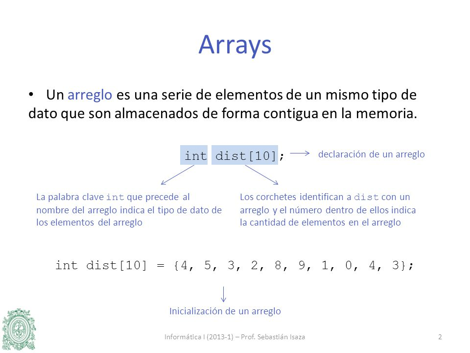 Ejemplos de la inicialización de un variable tipo int, char o float: int cuenta = 0; char letra = A ; float altura = 1.85; Ejemplo de la inicialización de un arreglo: int powers[8] = {1, 2, 4, 6, 8, 16, 32, 64}; ¿Qué ocurre si un arreglo no se inicializa.