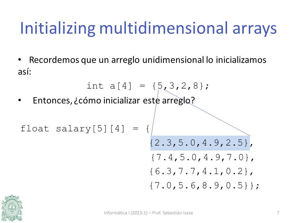 Recordemos que un arreglo unidimensional lo inicializamos así: int a[4] = {5,3,2,8}; Entonces, ¿cómo inicializar este arreglo? float salary[5][4] = {