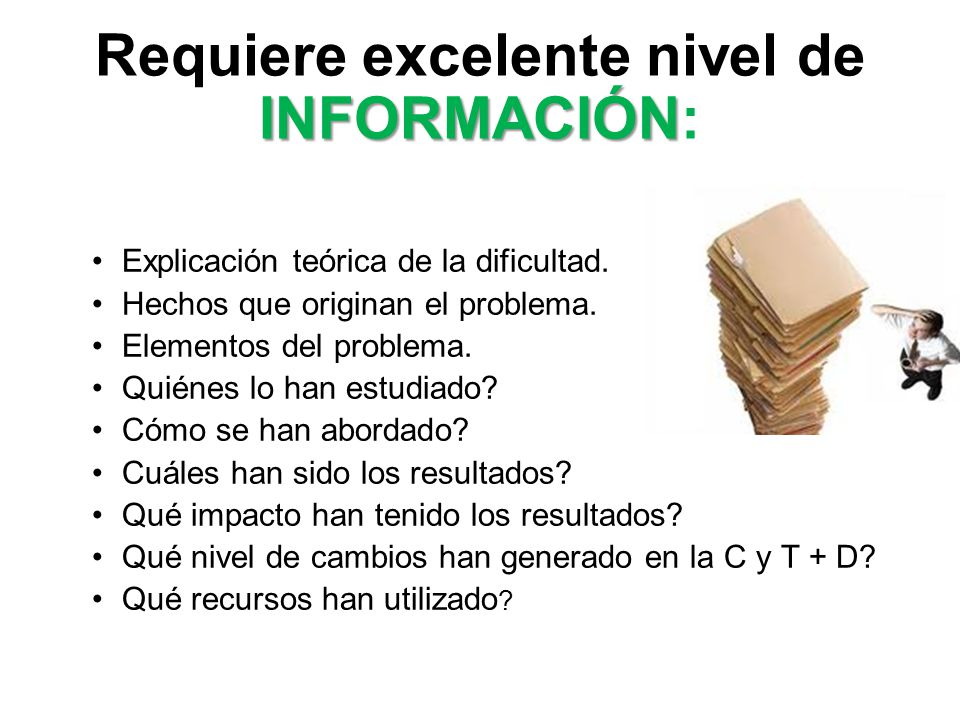 INFORMACIÓN Requiere excelente nivel de INFORMACIÓN: Explicación teórica de la dificultad. Hechos que originan el problema. Elementos del problema. Qu