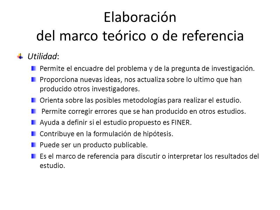 Elaboración del marco teórico o de referencia Utilidad: Permite el encuadre del problema y de la pregunta de investigación. Proporciona nuevas ideas,