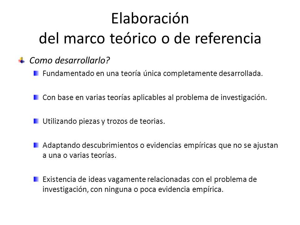Elaboración del marco teórico o de referencia Como desarrollarlo? Fundamentado en una teoría única completamente desarrollada. Con base en varias teor