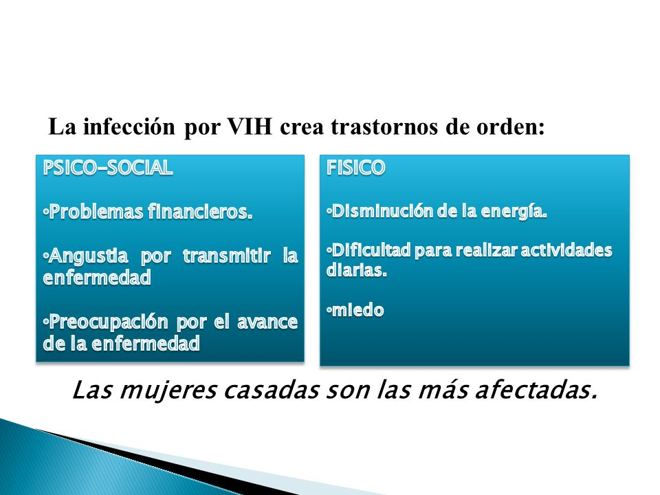 La infección por VIH crea trastornos de orden: Las mujeres casadas son las más afectadas.