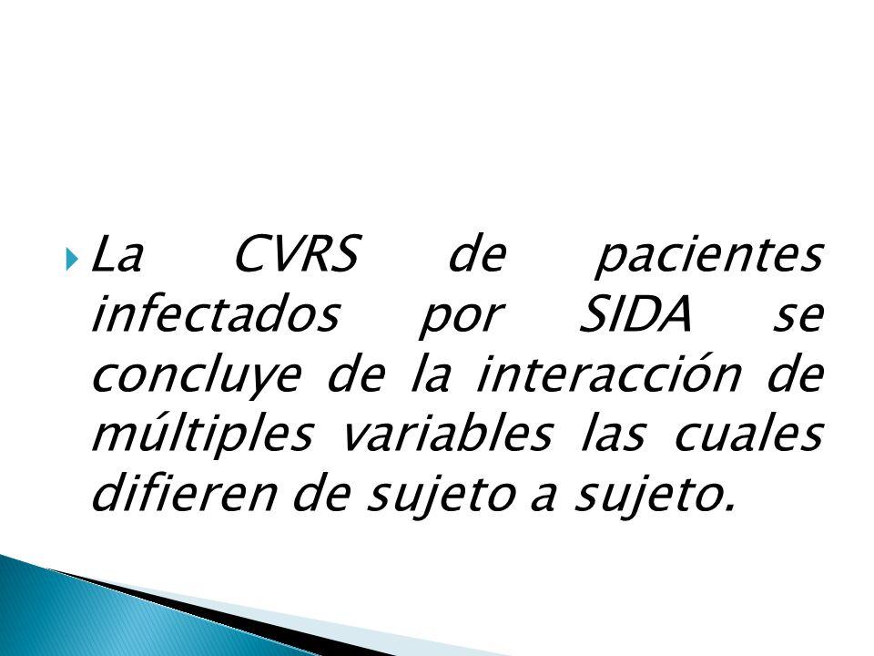 La CVRS de pacientes infectados por SIDA se concluye de la interacción de múltiples variables las cuales difieren de sujeto a sujeto.