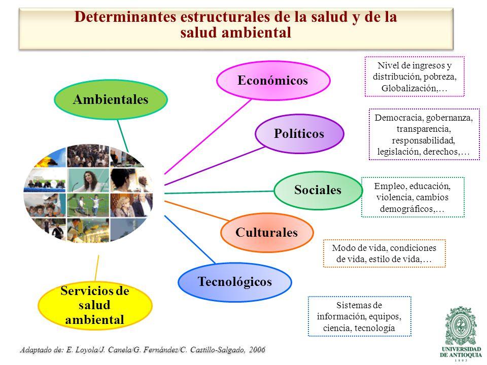 Determinantes estructurales de la salud y de la salud ambiental Adaptado de: E.