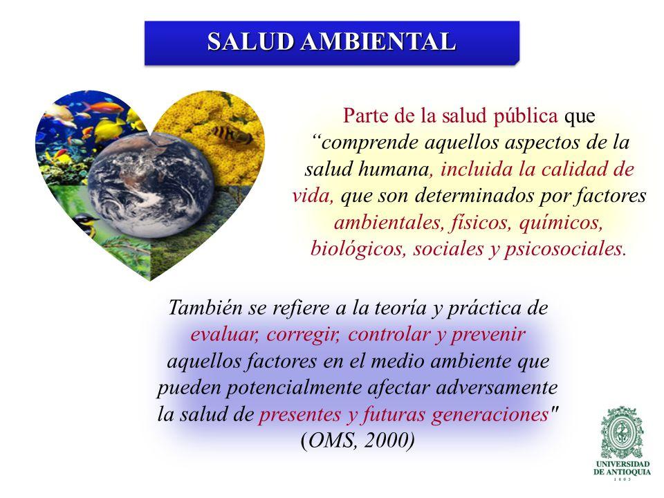 SALUD AMBIENTAL Parte de la salud pública quecomprende aquellos aspectos de la salud humana, incluida la calidad de vida, que son determinados por factores ambientales, físicos, químicos, biológicos, sociales y psicosociales.