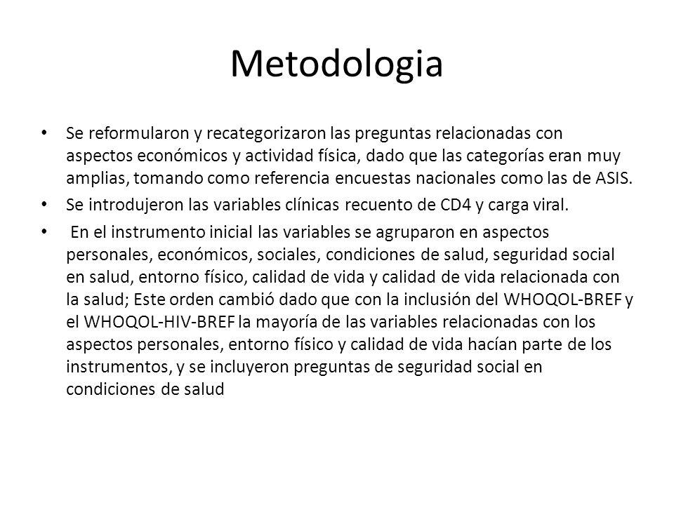 Metodologia Se reformularon y recategorizaron las preguntas relacionadas con aspectos económicos y actividad física, dado que las categorías eran muy amplias, tomando como referencia encuestas nacionales como las de ASIS.