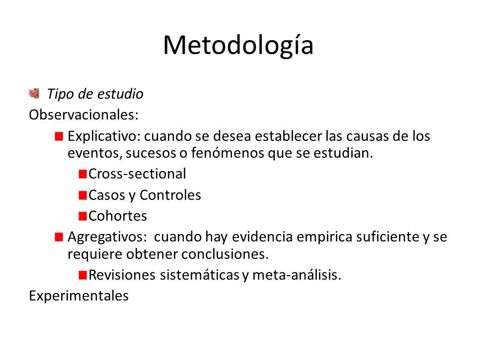 Metodología Tipo de estudio Observacionales: Explicativo: cuando se desea establecer las causas de los eventos, sucesos o fenómenos que se estudian.