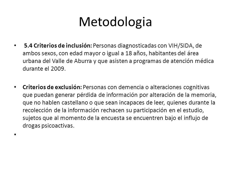 Metodologia 5.4 Criterios de inclusión: Personas diagnosticadas con VIH/SIDA, de ambos sexos, con edad mayor o igual a 18 años, habitantes del área urbana del Valle de Aburra y que asisten a programas de atención médica durante el 2009.