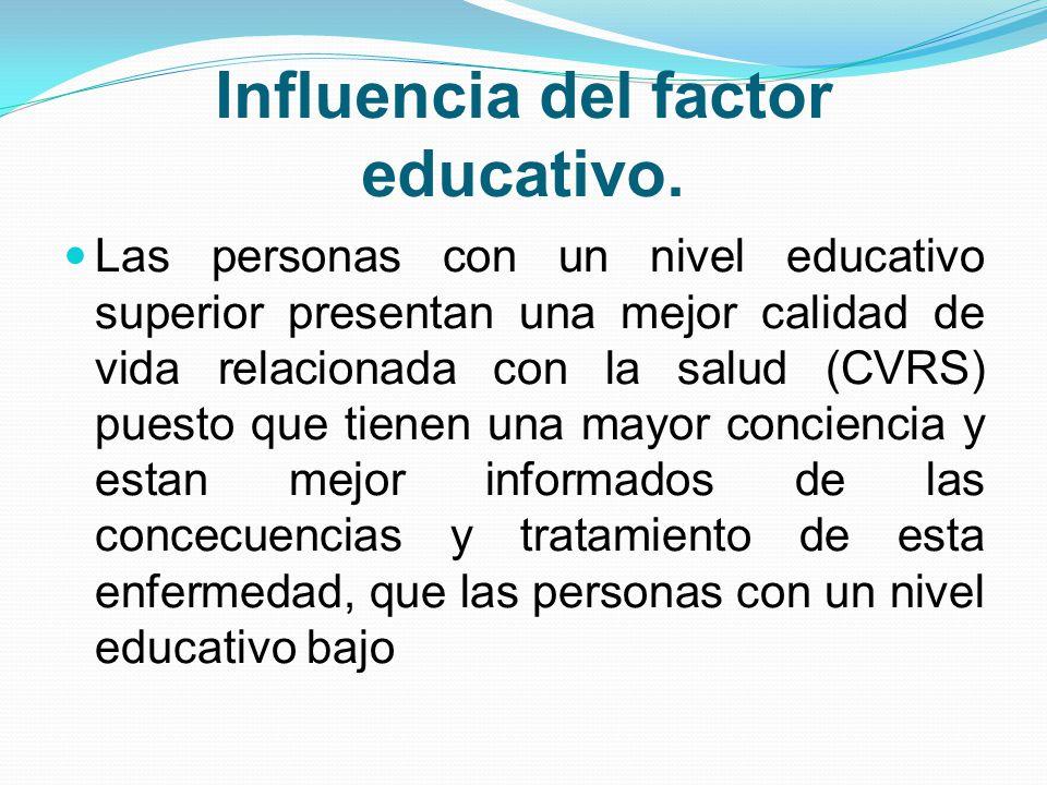 Influencia del factor educativo. Las personas con un nivel educativo superior presentan una mejor calidad de vida relacionada con la salud (CVRS) pues