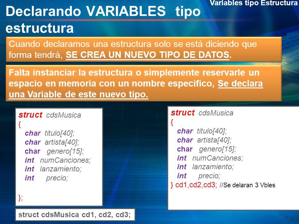 Declarando VARIABLES tipo estructura Variables tipo Estructura Cuando declaramos una estructura solo se está diciendo que forma tendrá, SE CREA UN NUE