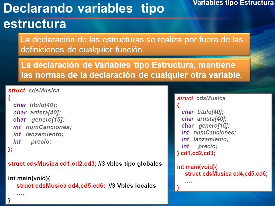 Declarando variables tipo estructura Variables tipo Estructura La declaración de las estructuras se realiza por fuera de las definiciones de cualquier
