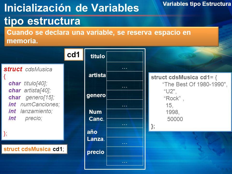Inicialización de Variables tipo estructura Variables tipo Estructura struct cdsMusica { char titulo[40]; char artista[40]; char genero[15]; int numCa