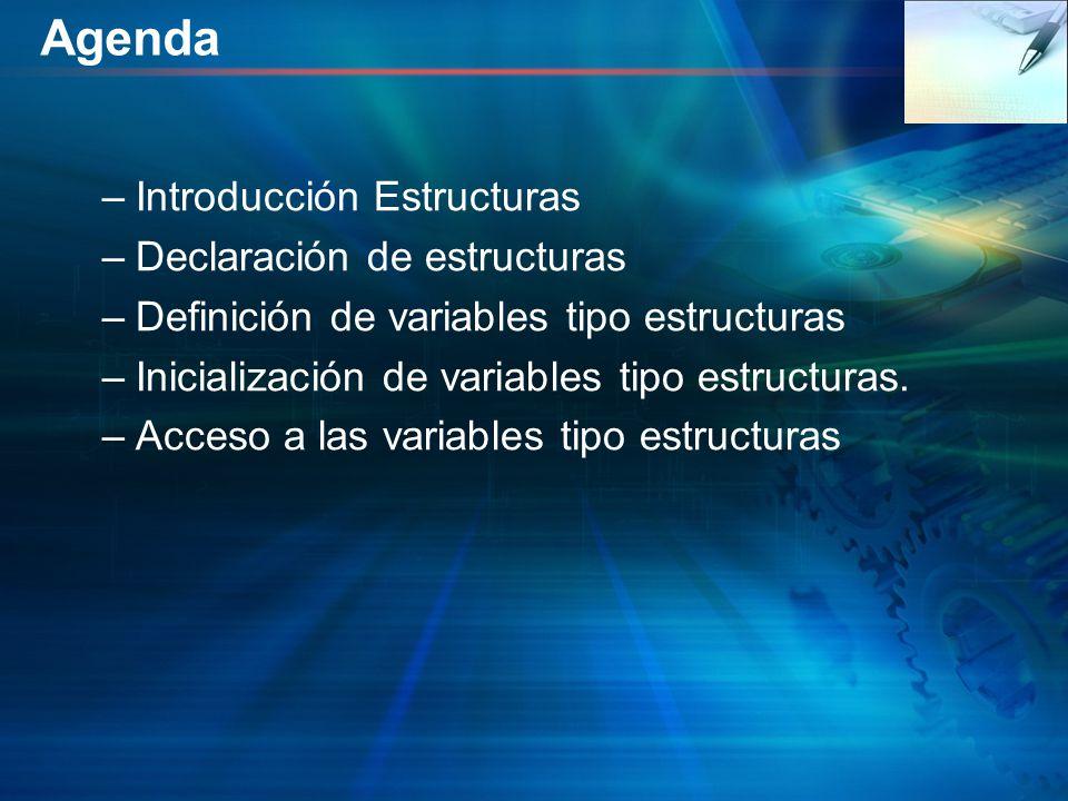 Agenda –Introducción Estructuras –Declaración de estructuras –Definición de variables tipo estructuras –Inicialización de variables tipo estructuras.