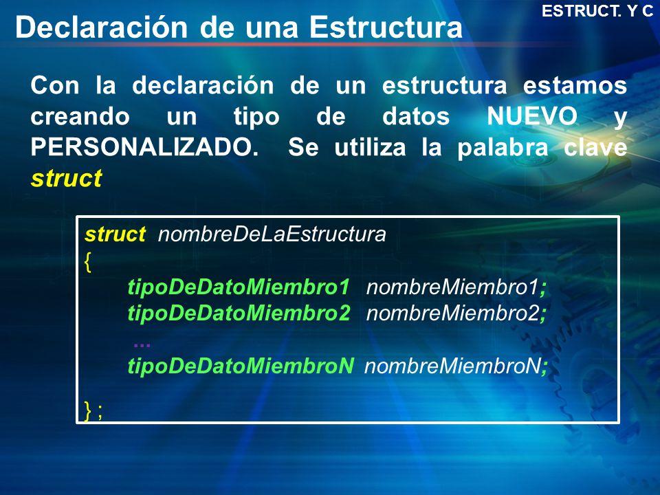 Declaración de una Estructura struct nombreDeLaEstructura { tipoDeDatoMiembro1 nombreMiembro1; tipoDeDatoMiembro2 nombreMiembro2;... tipoDeDatoMiembro