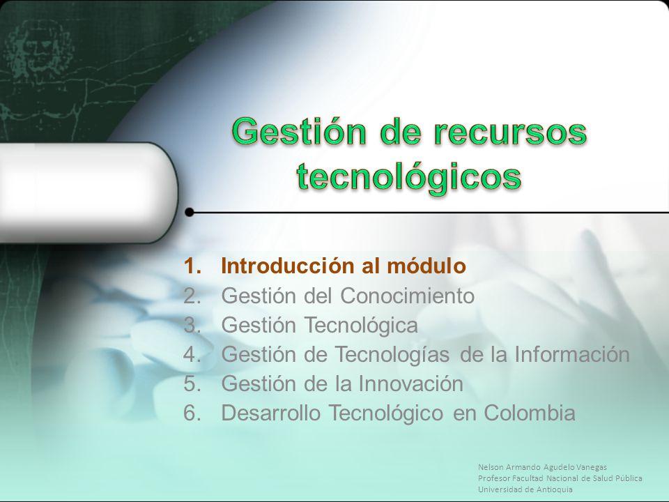 1.Introducción al módulo 2.Gestión del Conocimiento 3.Gestión Tecnológica 4.Gestión de Tecnologías de la Información 5.Gestión de la Innovación 6.Desa