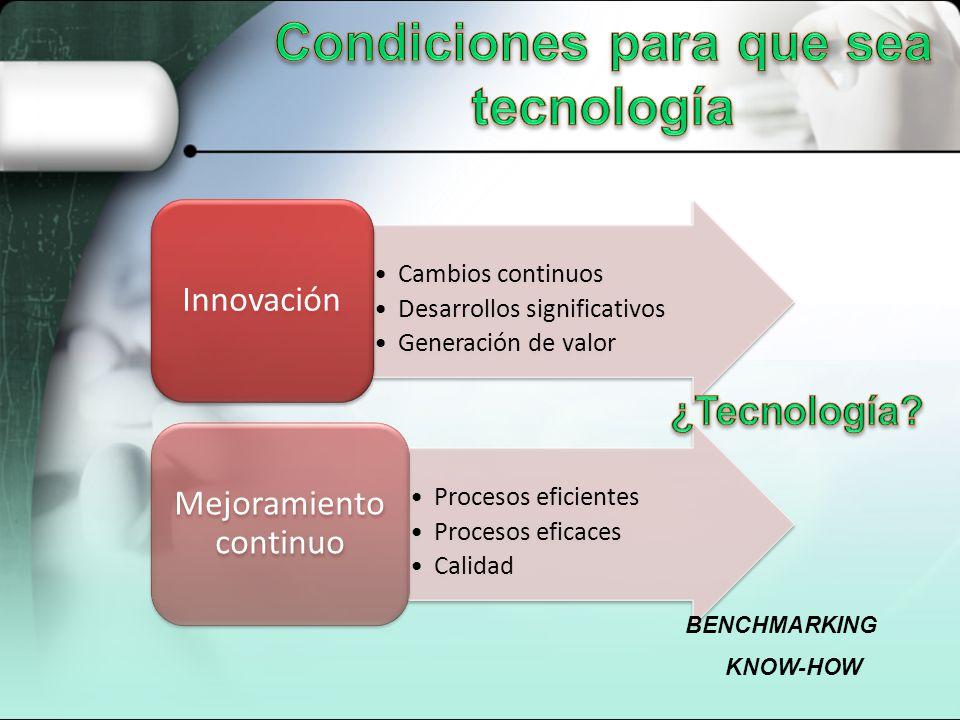 Cambios continuos Desarrollos significativos Generación de valor Innovación Procesos eficientes Procesos eficaces Calidad Mejoramiento continuo BENCHM