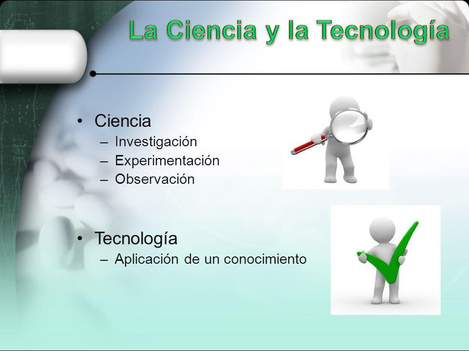 Ciencia –Investigación –Experimentación –Observación Tecnología –Aplicación de un conocimiento