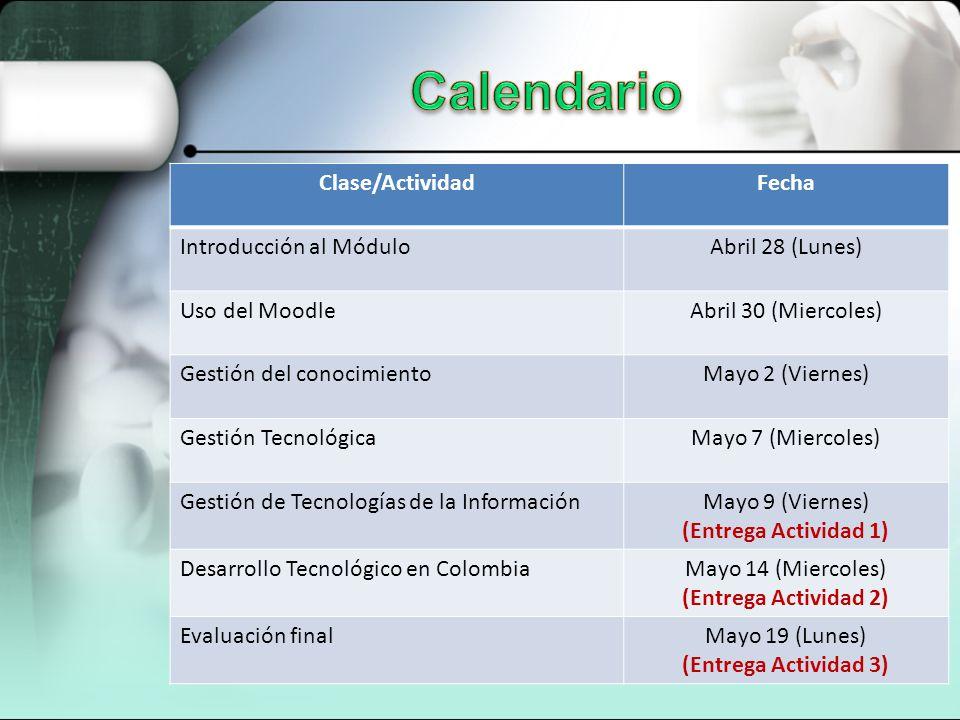 Clase/ActividadFecha Introducción al MóduloAbril 28 (Lunes) Uso del MoodleAbril 30 (Miercoles) Gestión del conocimientoMayo 2 (Viernes) Gestión Tecnol