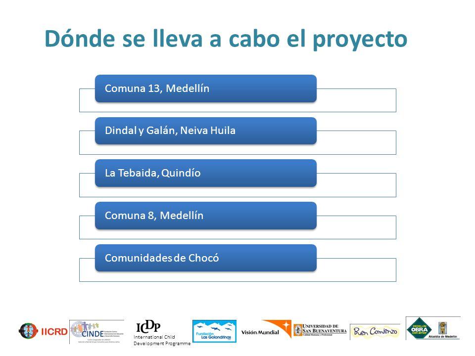 Dónde se lleva a cabo el proyecto Comuna 13, Medellín Dindal y Galán, Neiva Huila La Tebaida, Quindío Comuna 8, Medellín Comunidades de Chocó Internat