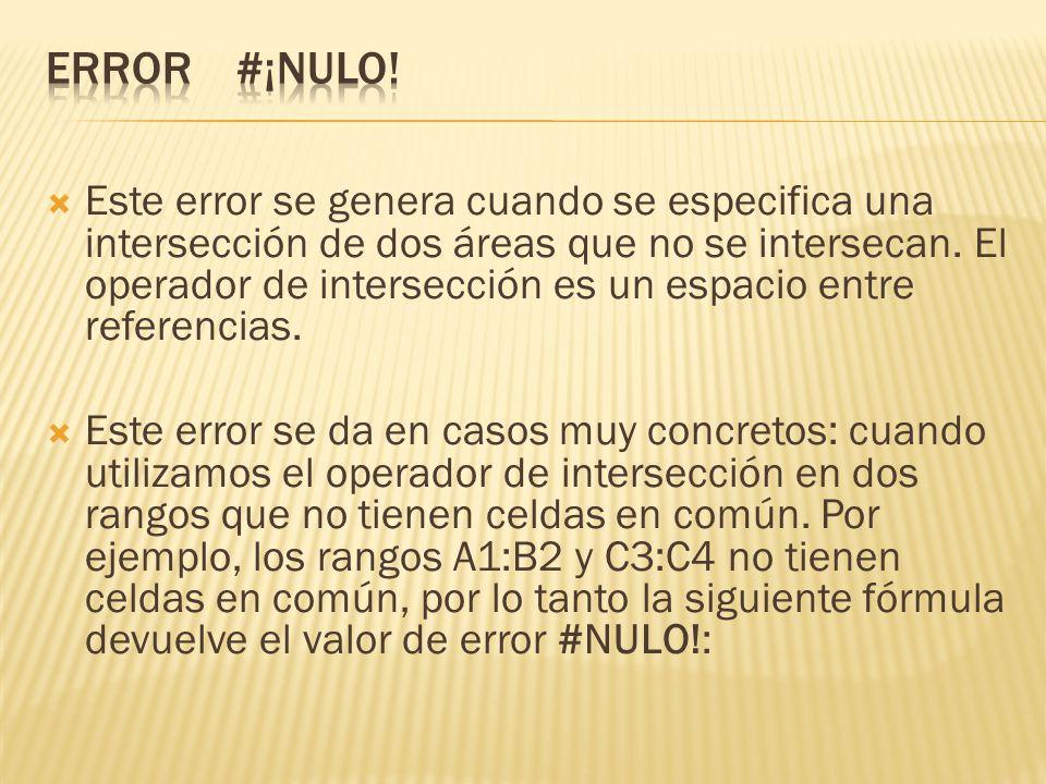 Este error se genera cuando se especifica una intersección de dos áreas que no se intersecan.
