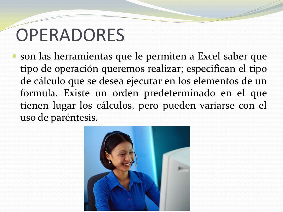 OPERADORES son las herramientas que le permiten a Excel saber que tipo de operación queremos realizar; especifican el tipo de cálculo que se desea ejecutar en los elementos de un formula.