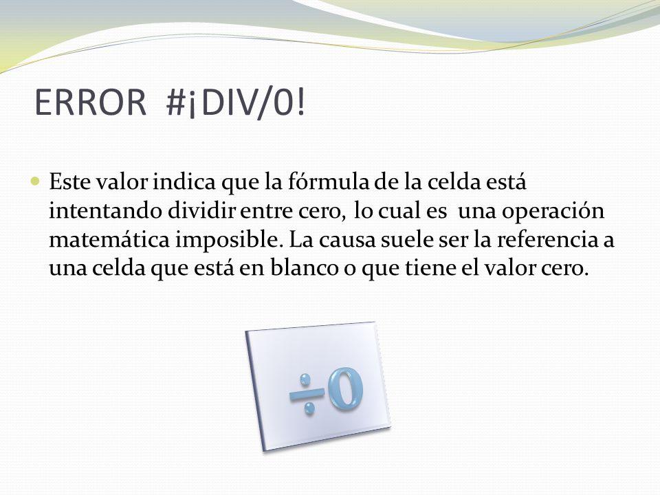 ERROR #¡DIV/0.