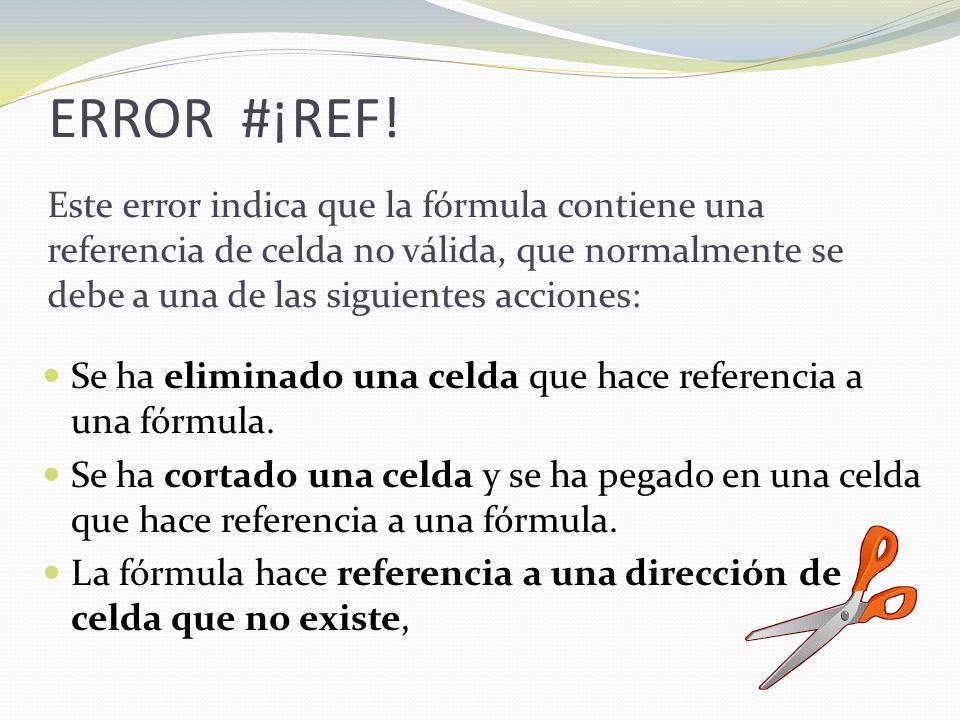 ERROR #¡REF.Se ha eliminado una celda que hace referencia a una fórmula.