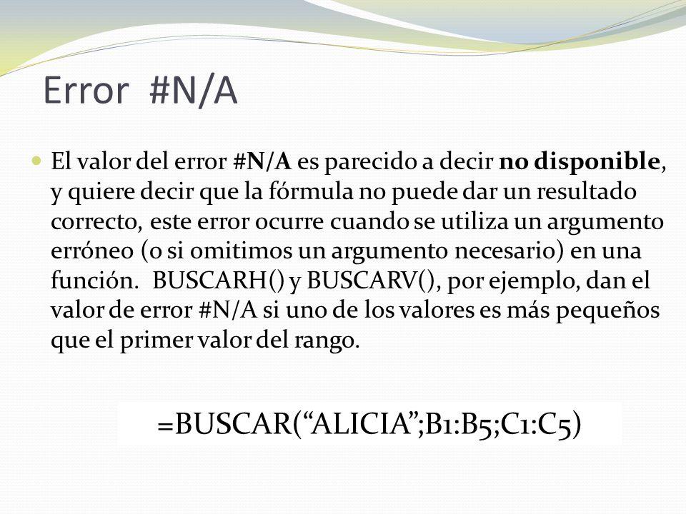Error #N/A El valor del error #N/A es parecido a decir no disponible, y quiere decir que la fórmula no puede dar un resultado correcto, este error ocurre cuando se utiliza un argumento erróneo (o si omitimos un argumento necesario) en una función.