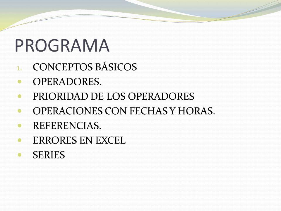 PROGRAMA 1.CONCEPTOS BÁSICOS OPERADORES.