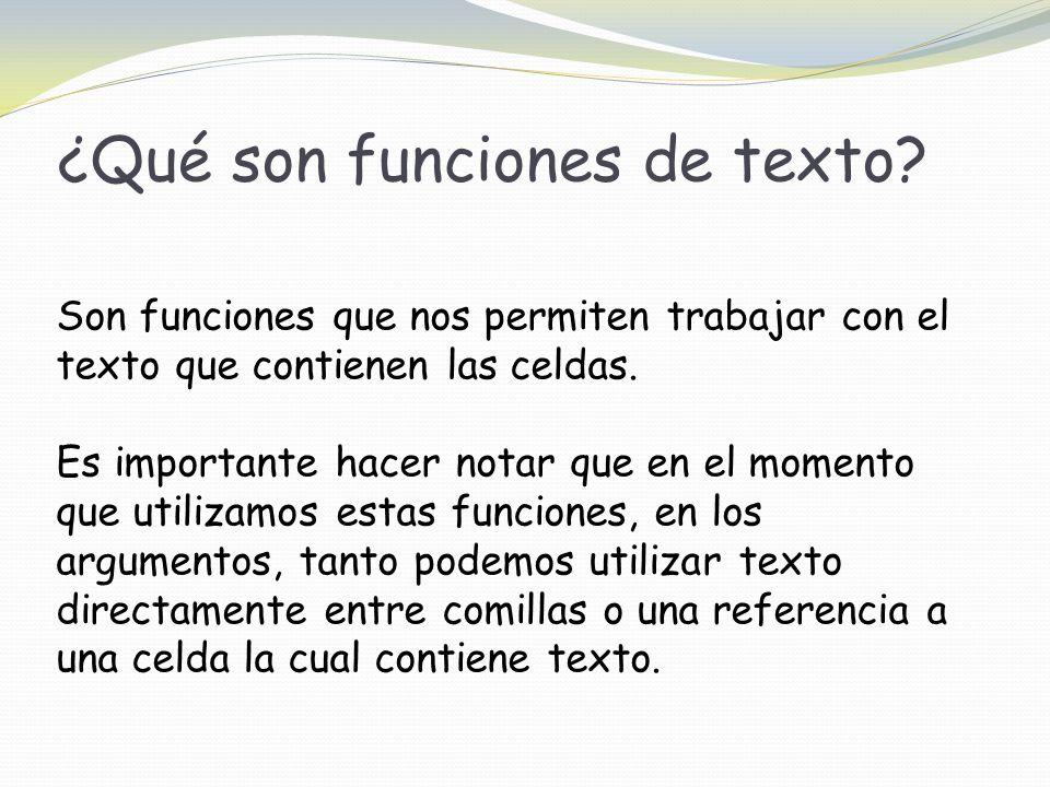 ¿Qué son funciones de texto.
