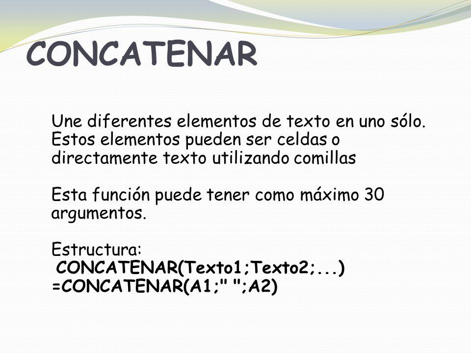 CONCATENAR Une diferentes elementos de texto en uno sólo.