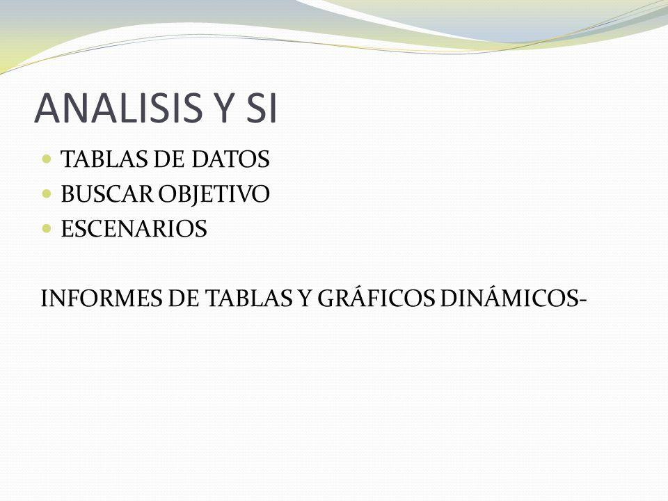 ANALISIS Y SI TABLAS DE DATOS BUSCAR OBJETIVO ESCENARIOS INFORMES DE TABLAS Y GRÁFICOS DINÁMICOS-