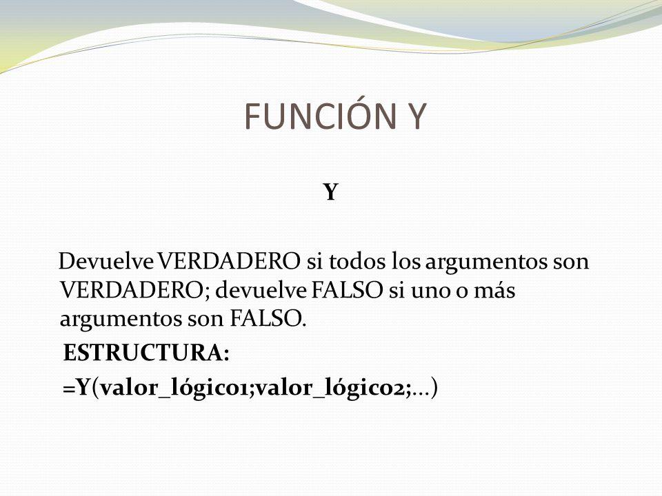 FUNCIÓN Y Y Devuelve VERDADERO si todos los argumentos son VERDADERO; devuelve FALSO si uno o más argumentos son FALSO.