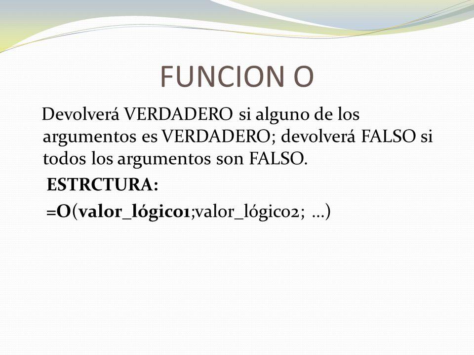 FUNCION O Devolverá VERDADERO si alguno de los argumentos es VERDADERO; devolverá FALSO si todos los argumentos son FALSO.