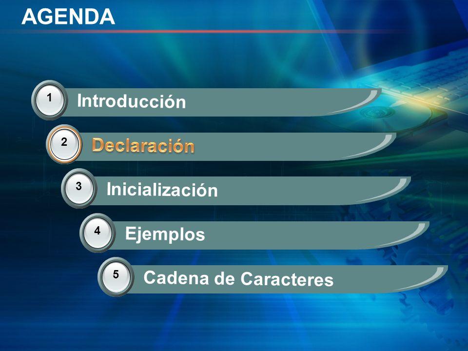 AGENDA 1 Introducción 2 Declaración 3 Inicialización 2 4 Ejemplos 5 Cadena de Caracteres