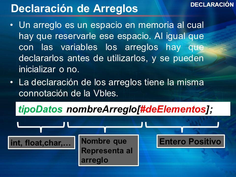 Declaración de Arreglos Un arreglo es un espacio en memoria al cual hay que reservarle ese espacio.