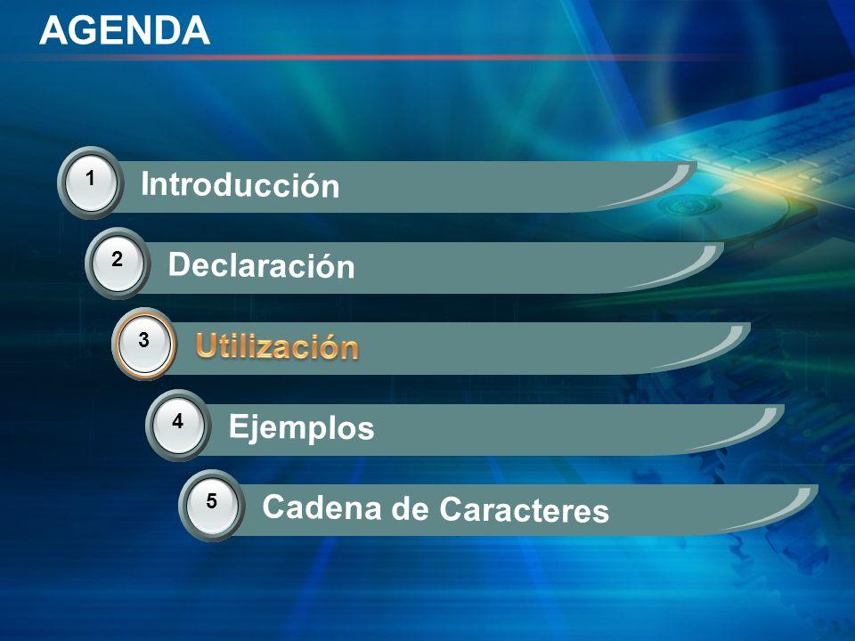 AGENDA 1 Introducción 2 Declaración 3 Utilización 3 4 Ejemplos 5 Cadena de Caracteres