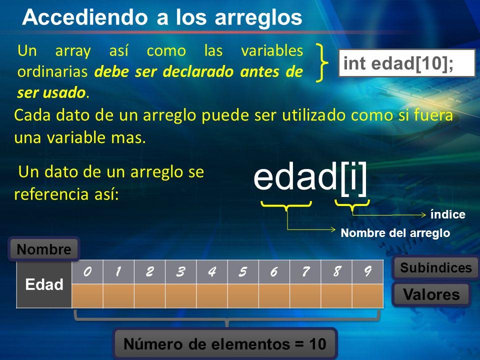 Accediendo a los arreglos Un array así como las variables ordinarias debe ser declarado antes de ser usado.
