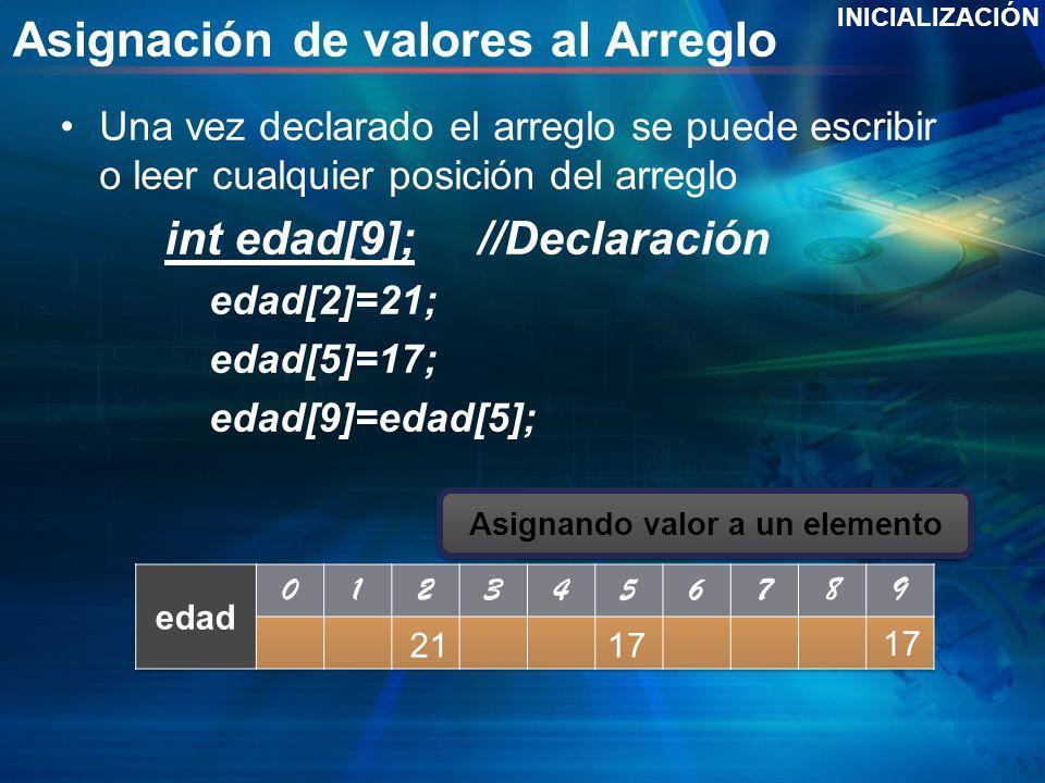 Asignación de valores al Arreglo Una vez declarado el arreglo se puede escribir o leer cualquier posición del arreglo int edad[9];//Declaración edad[2]=21; edad[5]=17; edad[9]=edad[5]; INICIALIZACIÓN 2117 Solo se crea el arreglo Asignando valor a un elemento